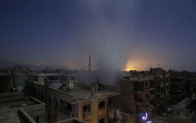 Área de combates ao leste de Damasco, na sexta-feira.