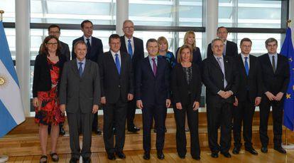 Mauricio Macri e a comitiva argentina na Comissão Europeia