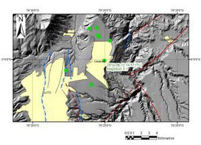 Gráfico explicativo do sismo do Instituto Geofísico.