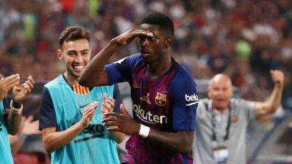 Dembélé comemora o gol que decidiu a Supercopa.