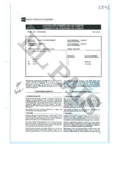 Contrato de abertura de uma conta criptografada na BPA vinculada aos pais do ex-ministro do Panamá Demetrio Papadimitriu.