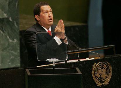 Hugo Chávez na Assembleia Geral da ONU em 2006.