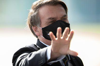 O presidente Jair Bolsonaro na saída do Palácio da Alvorada, nesta terça-feira.