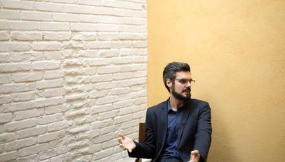 Pedro Herculano de Souza, na livraria Mandarina, em São Paulo, onde concedeu entrevista.