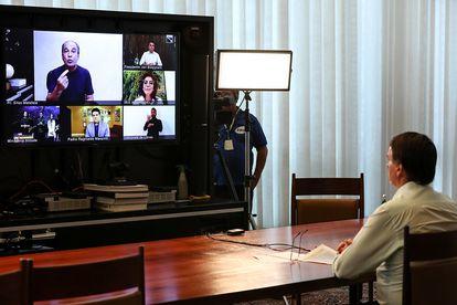 Jair Bolsonaro durante celebração de Páscoa por videoconferência.