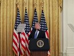 """U.S. President Donald Trump speaks about a plan to send U.S. federal law enforcement agents to several cities to assist local police in combating what the Justice Department has described as a """"surge"""" of violent crime, in the East Room at the White House in Washington, U.S., July 22, 2020. REUTERS/Leah Millis"""