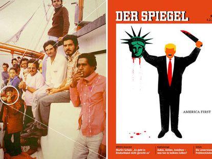 À esquerda: Edel Rodríguez quando criança, usando um casaco, durante sua viagem de barco de Cuba aos EUA [fotografia de Mario Ruiz]. À direita: capa da 'Der Spiegel' com a ilustração de Rodríguez.