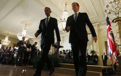Barack Obama e David Cameron, depois da entrevista coletiva.