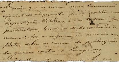"""O pedido de CPI apresentado no Senado em 1867: """"Requeiro que se nomeie uma comissão especial de inquérito para colher nas repartições públicas e nos testemunhos particulares, tomando depoimentos se necessário for, as informações as mais completas sobre as causas da prolongação da guerra contra o Paraguai"""" (imagem: Arquivo do Senado)"""