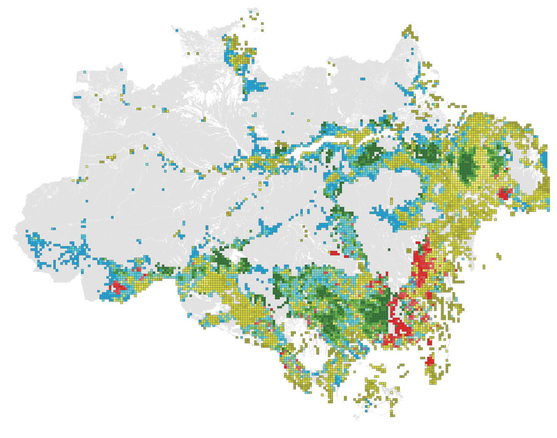 Área degradada da floresta amazônica. Cada cor corresponde a um fator degradante. Verde: desmatamento. Vermelho: incêndios. Azul: efeito-limite. Amarelo: fragmentação florestal. O tom indica a intensidade da perturbação.