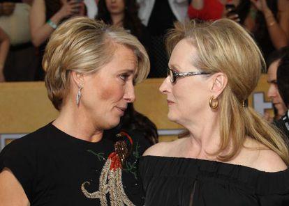 As atrizes Emma Thompson e Meryl Streep.