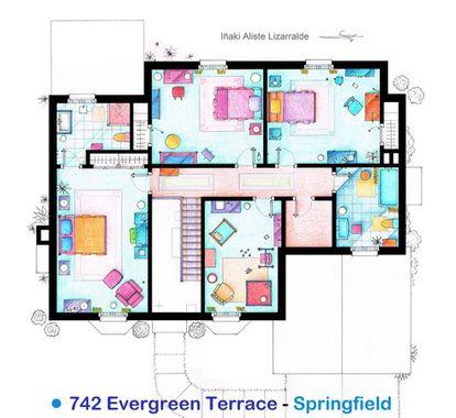 Plano de la planta superior de la casa de 'Los Simpson', según el arquitecto Iñaki Aliste Lizarralde.