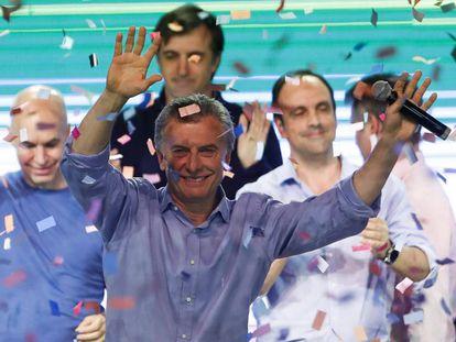Mauricio Macri, presidente argentino, comemora vitória histórica