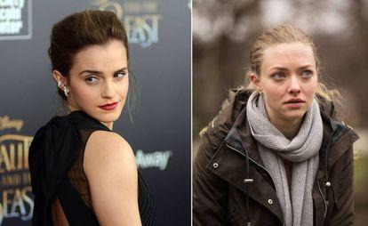 As atrizes Emma Watson, à direita, e Amanda Seyfried