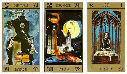 Três das cartas do tarô desenhadas por Dalí. Em seu baralho, ele se apresenta a si mesmo como o mago, e a Gala como a imperatriz.