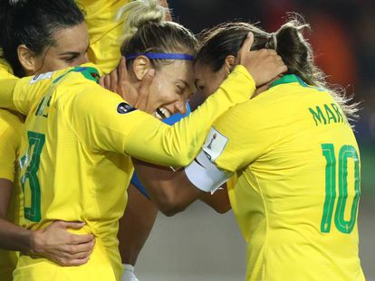 Seleção brasileira durante a Copa América, em 2018.