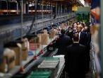 U.S. President Donald Trump tours medical equipment distributor Owens & Minor during the coronavirus disease (COVID-19) pandemic in Allentown, Pennsylvania, U.S., May 14, 2020. REUTERS/Carlos Barria