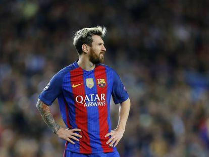 Messi no Camp Nou durante o jogo contra o Manchester City.