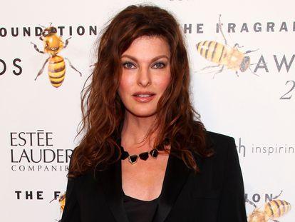 Linda Evangelista, em sua última aparição pública, em uma cerimônia de entrega de prêmios em Nova York em junho de 2015.