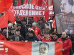 Manifestação do Partido Comunista Russo para comemorar a Revolução de Outubro de 1917, em 7 de novembro