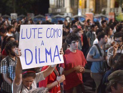 Apoiadores de Dilma Rousseff, nesta quarta em São Paulo.