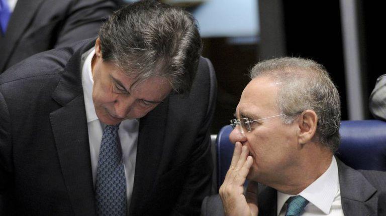 Eunício e Renan no Senado.