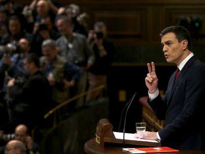 O líder do PSOE, Pedro Sánchez, nesta terça-feira no Congresso.