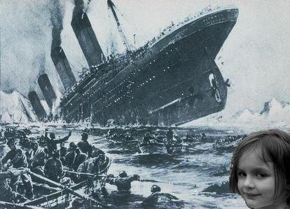 'Disaster Girl' em frente ao Titanic.