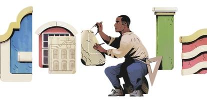 Homenagem feita pelo Google ao arquiteto brasileiro Tebas.