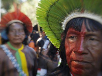 Indígenas no Acampamento Terra Livre, em Brasília, no ano passado.