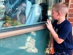Un niño mira ayer a su padre ingresado por covid en un hospital del estado de Misuri, EE UU.