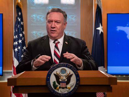 Mike Pompeo, em março numa entrevista coletiva no Departamento de Estado, em Washington DC.