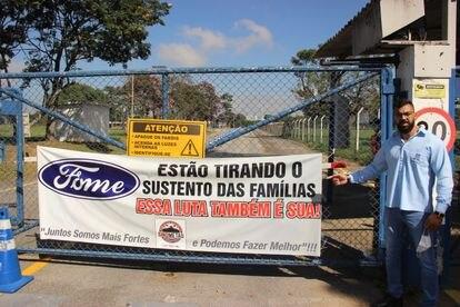 Leandro Monteiro, que trabalhou 23 anos na fábrica da Ford em Taubaté, luta pelos direitos trabalhistas após anúncio da saída da empresa do Brasil.