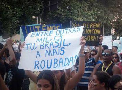Protesto em frente à Arena Fonte Nova, em Salvador, durante a última Copa das Confederações.