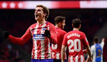 Griezmann comemora um de seus 15 gols em La Liga.