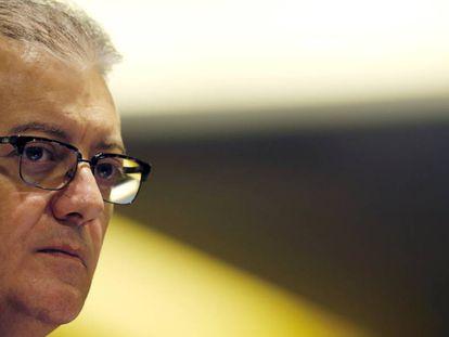 Aldemir Bendine durante conferência quando era presidente da Petrobras em 2016