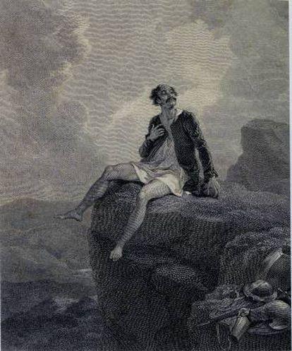 Dom Quixote desenhado por Robert Smirke para uma tradução inglesa de 1818. O pintor britânico ilustrou tanto a novela de Cervantes quanto os dramas de Shakespeare.