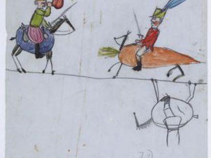 Um dos desenhos feitos pela filha de Darwin em uma página de 'A Origem das Espécies'.