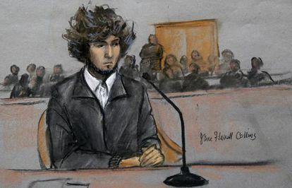 Dzohkhar Tsarnaev visto em um desenho feito durante o julgamento em Boston.