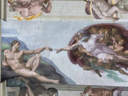 Detalhe de 'A criação de Adão' com a nova iluminação.