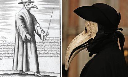 À esquerda, um médico da peste em uma gravura do século XVII, à direita, uma fantasia no Carnaval de Veneza.