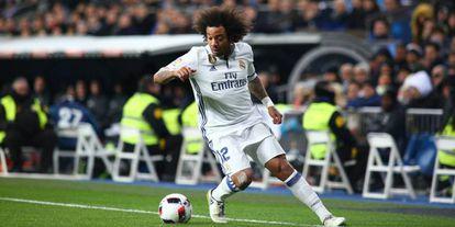Marcelo, num jogo contra o Real Madrid.