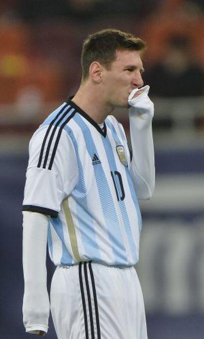 Messi, durante uma partida da Argentina.