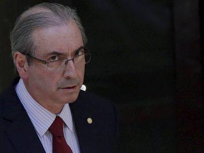 Eduardo Cunha, ao deixar sua casa em Brasília na manhã de terça.
