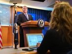U.S. Secretary of State Mike Pompeo calls on a reporter during a briefing to the media at the State Department in Washington, U.S., November 10, 2020. Jacquelyn Martin/Pool via REUTERS