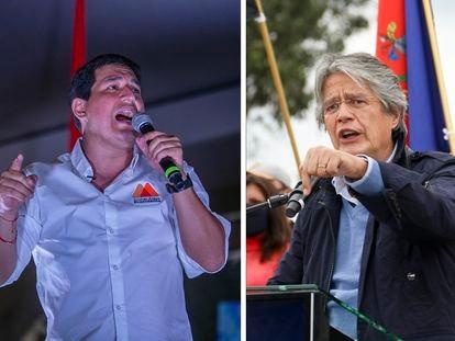 Os candidatos à presidência do Equador, Andres Arauz e Guillermo Lasso em eventos de campanha.