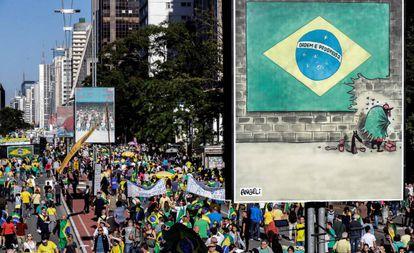 Apoiadores de Jair Bolsonaro durante manifestação em São Paulo.