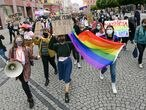 Members of a group supporting LGBT rights protest in Wroclaw, Poland June 21, 2020.  Tomasz Pietrzyk/Agencja Gazeta via REUTERS ATTENTION EDITORS - THIS IMAGE WAS PROVIDED BY A THIRD PARTY. POLAND OUT. NO COMMERCIAL OR EDITORIAL SALES IN POLAND