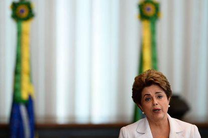 Rousseff durante pronunciamento, nesta segunda.