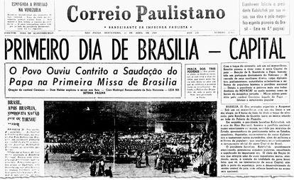 Jornal noticia, em 1960, a inauguração de Brasília (imagem: Correio Paulistano/Biblioteca Nacional Digital)   Fonte: Agência Senado